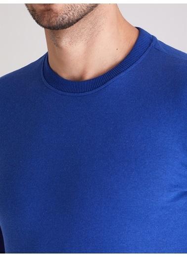 Dufy A.Grı Bısıklet Yaka Düz Erkek Sweatshırt - Slım Fıt Saks
